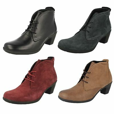 LADIES EASY B DBS LEATHER LACE UP ANKLE BOOTS IN 3 COLOURS EE FITTING STYLE JO