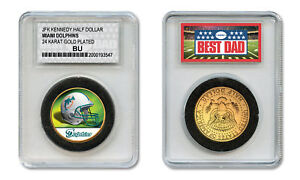 MIAMI-DOLPHINS-NFL-GREATEST-DAD-JFK-24KT-Gold-Clad-Coin-SPECIAL-LTD-CASE