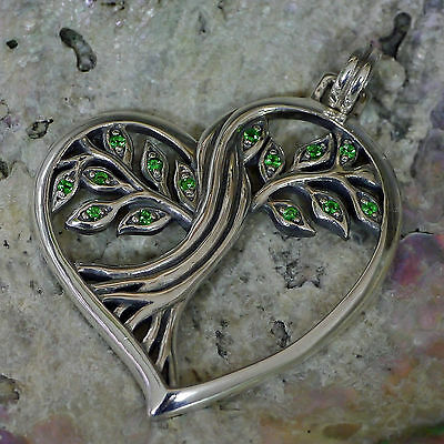 SET Baum des Lebens Kraftamulett 925 Silber Herz Lebensbaum Anhänger Peter Stone