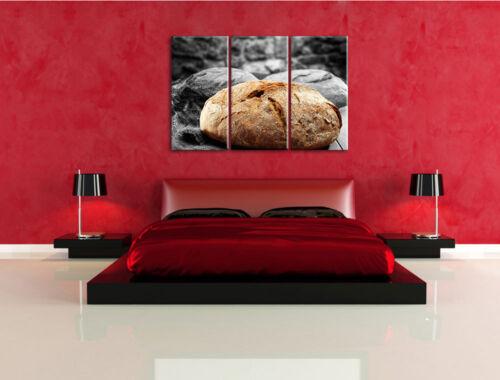 knuspriges Brot schwarz//weiß auf 3-Teiler Leinwandbild Wanddeko Kunstdruck