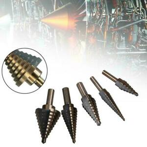 Neu-5Pc-Set-Hss-Grosses-Cobalt-Loch-Titan-Kegel-Stufenbohrer-Cutter-Werkzeug-Kas