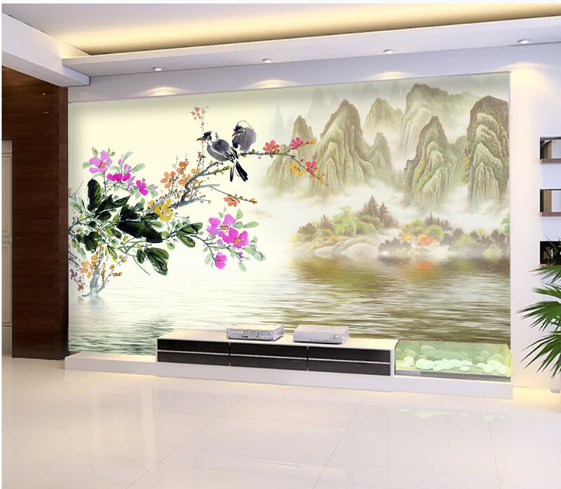 3D Mountains Flowers 2456 Paper Wall Print Wall Decal Wall Deco Indoor Murals