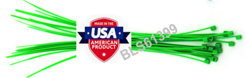 """200 USA Made TOUGH TIES 8/"""" inch 50lb Nylon Tie Wraps Wire Cable Zip Ties Green"""
