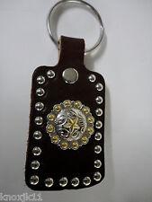 NEW Brown Dbl LEATHER Western KEY CHAIN RING Cowboy Gold Star Conchos Amish USA