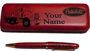 Peterbilt-Dumptruck-Rosewood-Pen-Case-Engraved