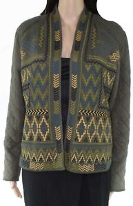 Tribal Womens Jacket Green Size Large L Embroidered Quilted Fleece-Lined $88 037