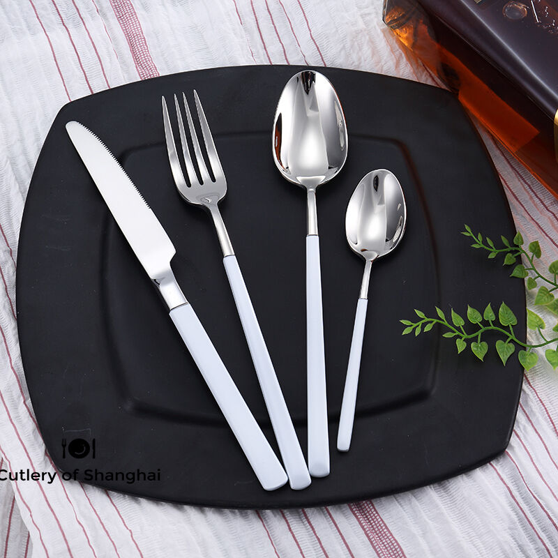 44pcs Stainless Steel 18 10 Cutlery Dinnerware Set Weiß Teflon Coated Handles