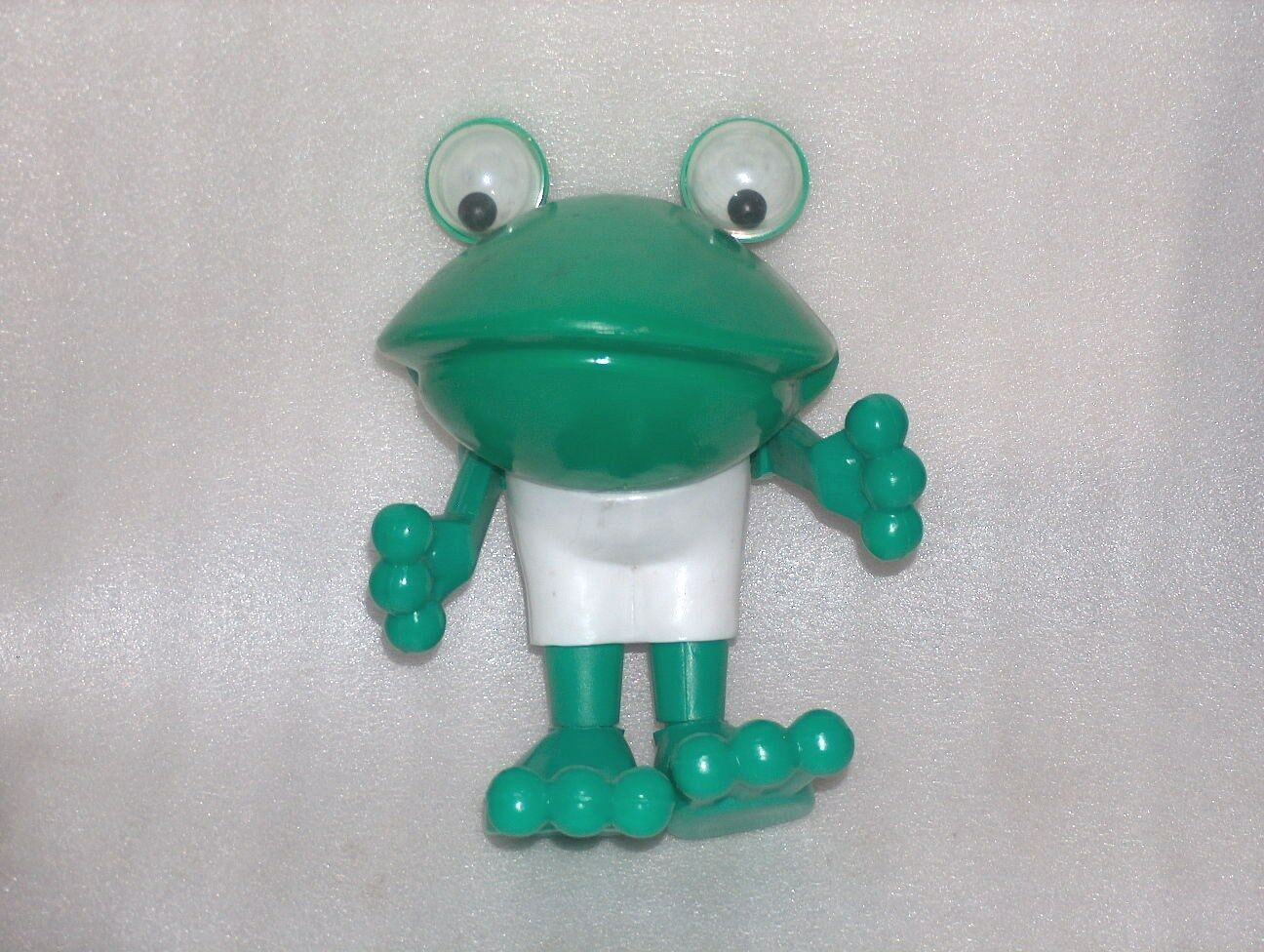 VINTAGE VERY CUTE PLASTIC TOY DOLL - FROG WITH ROLLING EYES, RUSSIA USSR