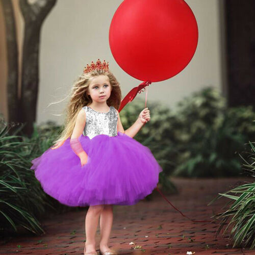 Girls Princess Party Dress Sequins Ballet Wedding Bridesmaid Tutu Tulle Dresses