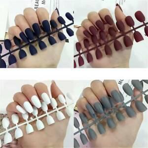 24pcs ballerinas fake nails matte gradient short false
