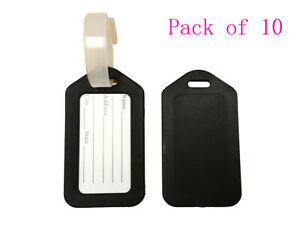 Pack of 10 Travel Luggage Bag Tag Plastic Suitcase Baggage Office Label, Black