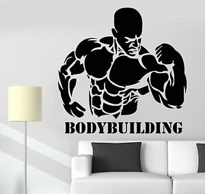 sticker sport bodybuilder activity workout strong man. Black Bedroom Furniture Sets. Home Design Ideas