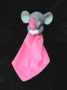 Carters Pink Mouse baby Security blanket rattle velour satin bright pink stripes