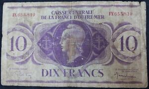 1944-France-Overseas-Territories-10-Franc-039-Rare-039-Bank-Note-KM-Coins