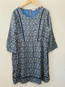 Fat Face Ladies Blue Floral Dress / Tunic Ditsy Size 18 Summer Boho Smock Style