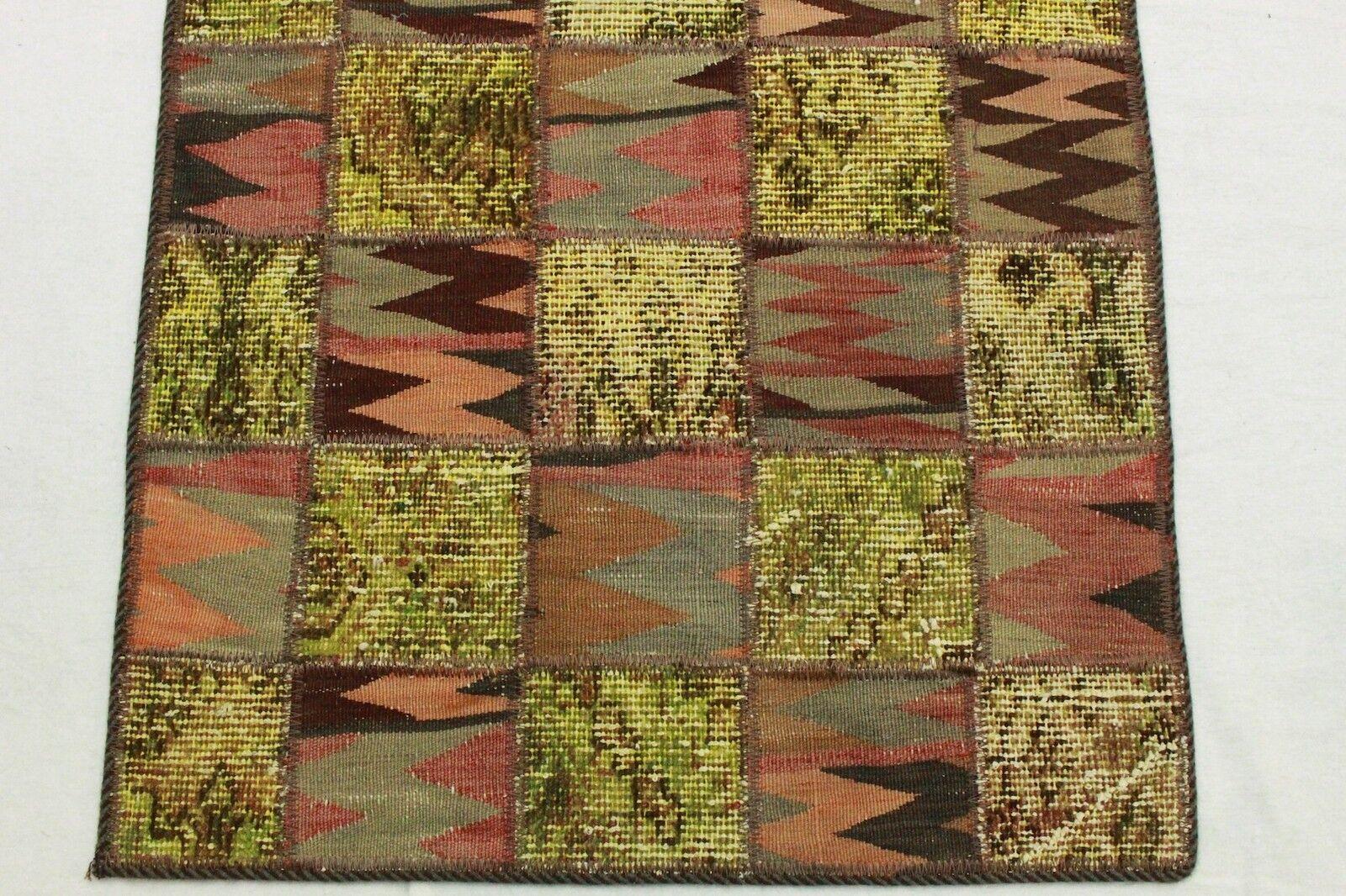 Vintage Tappeto Orientale Orientale Orientale Tappeto Patchwork Moderno verde Marronee 310x80 handmade 2609 ccd265