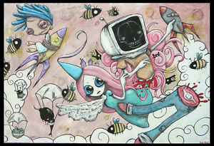 ORIGINAL-Art-Painting-EMI-BOZ-Outsider-lowbrow-Ooak-abstract-HARDER-TO-PRETEND