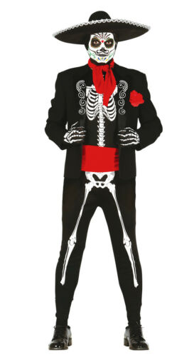 Mens Mexican Skeleton Costume /& Hat Halloween Fancy Dress Day Of Dead 38-44 NEW