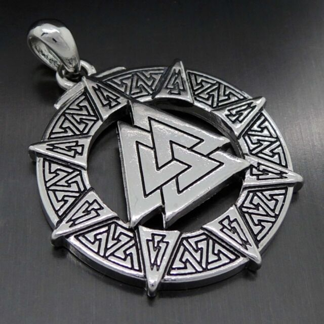Valknut Odin's Symbol of Norse Viking Warriors Pewter Pendant Necklace PP#301