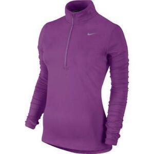 Nike-Women-039-s-SZ-S-Element-Dri-FIT-Half-Zip-Running-Top-717421-513-Purple-Silver