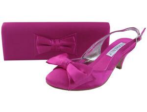 f1b1fbc47ec Details about Ladies Wedding Party Low Heel Shoe Evening Shoes Diamante  Fuchsia Pink Satin NEW