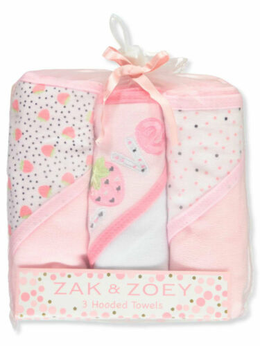 Zak /& Zoey Baby Girls Hooded Towels 3-pack BRAND NEW!!!!!