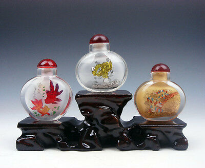 3 Peking Glas Schnupftabak Flaschen Goldfishes Drache Bazaar Mit Transport Triple Lovely Luster