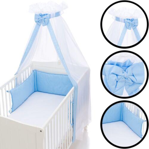 Nestchen Bettumrandung /& Betthimmel Schleier SET Baby Kopf Stoß Schutz Bett Nest