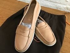TOD'S Beige Leather Moccasins Flats Driving Shoes Sz 36 1/2 UK 3.5 US 6.5