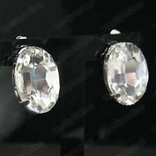 big 3cm crystals CLIP ON CRYSTAL EARRINGS large oval glass stones SILVER PLATED