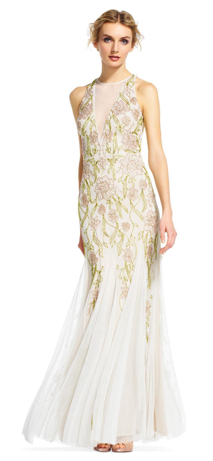 Adrianna Papell Ivory Multi Floral Beaded Halter Dress With Godet Skirt 12   329