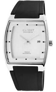 Akzent-Herrenuhr-Weiss-Schwarz-Analog-Datum-Silikon-Mode-Armbanduhr-X2500002001