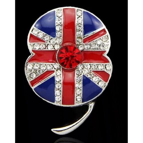 Flor de amapola Bandera Esmalte insignias Broches Pin Oro Plateado Diamante Regalo insectos