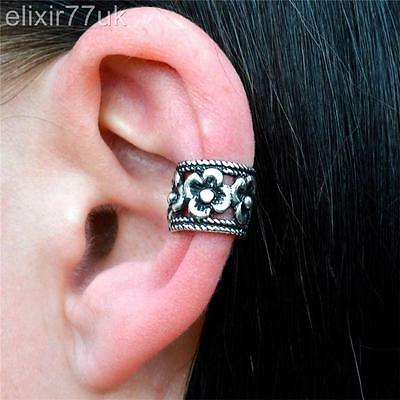 HOT SILVER PLATED FLOWER EAR CUFF CLIP ON WRAP CARTILAGE EMO PUNK GOTHIC EARRING