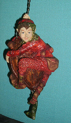Elf on Nut Ornament North Pole Forest Collection by Mark Roberts Retired Line