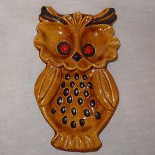Vintage Owl Spoon Rest Ceramic Brown Best Wishes 1971 - Cracked