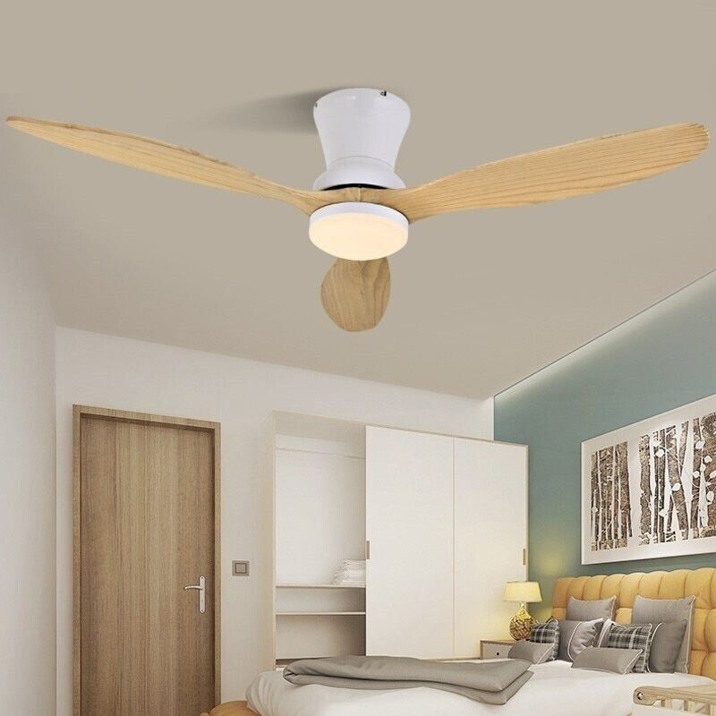 Modern LED Wooden Ceiling Weiß Nordic Living Room Attic Fans With Lights 220v