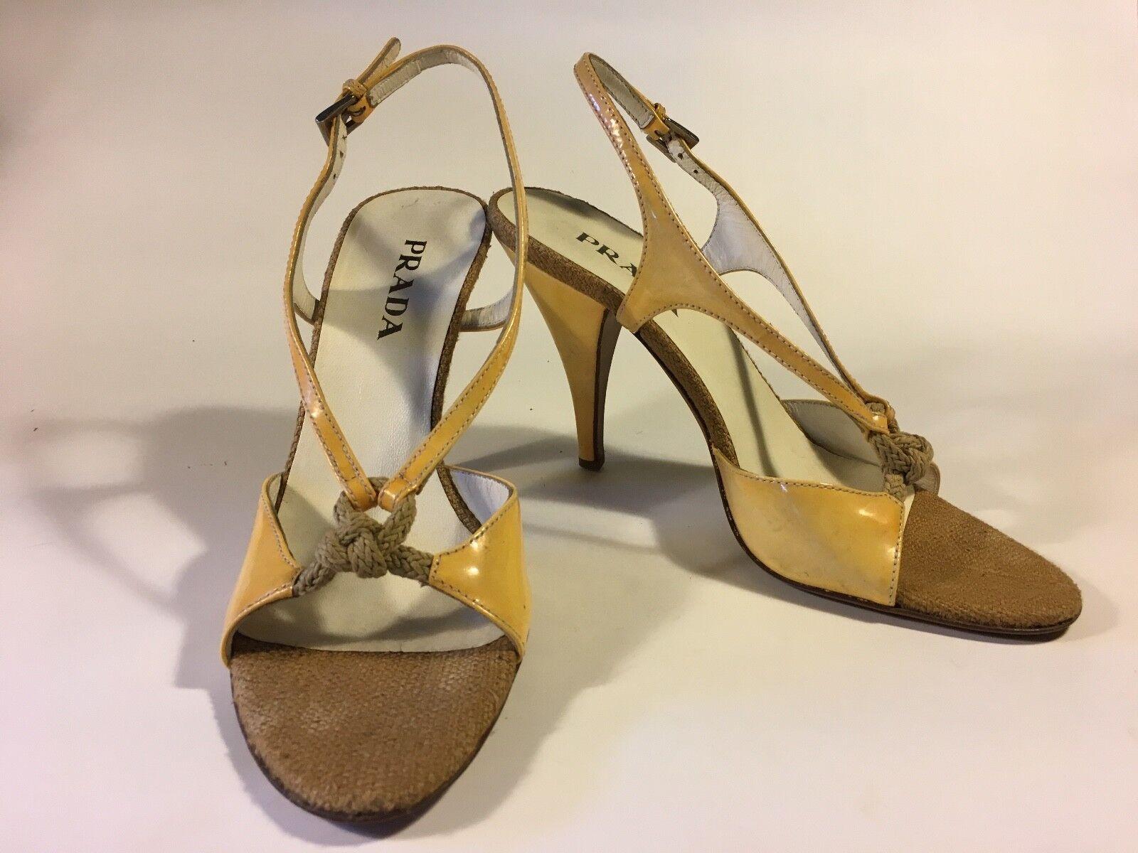 Prada, gula läderklackar läderklackar läderklackar med mild patina, repdetaljer och hessisk tå 10  designer online
