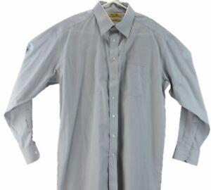 Roundtree-Yorke-Gold-Label-Mens-Large-Dress-Shirt-16-34-Gray-Non-Iron-Poplin
