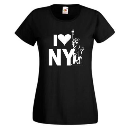 I love New York lustige girls t-shirts Damen Funshirt GO181 Sprüche T-Shirt