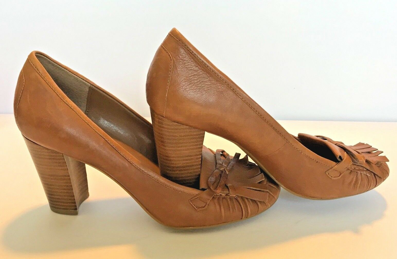 Franco Sarto Brown Leather Heels Look Women's Size 7.5 Loafer Look Heels 092977
