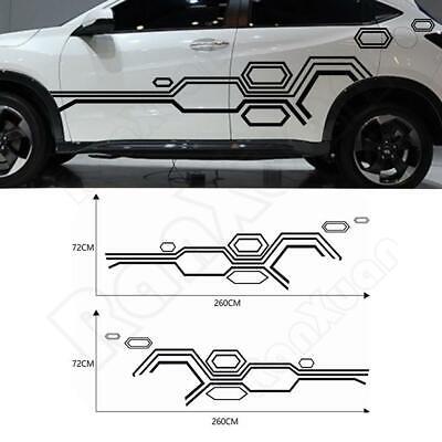 2PCS Black Auto Graphic decal Vinyl Car Truck Body Racing Stripe Sticker DIY new