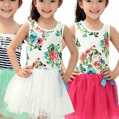 Hot Floral Baby Kids Girls Princess Tulle Tutu Dress Bow Party Vest Skirts 2-7Y