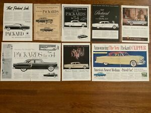V Packard 1950's Ads Lot of 8   13 1/2 x 10 1/2