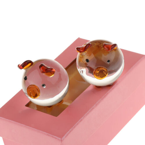 Lovely Couple Pig Crystal Ornaments Gift With Pink Gift Box Yellow