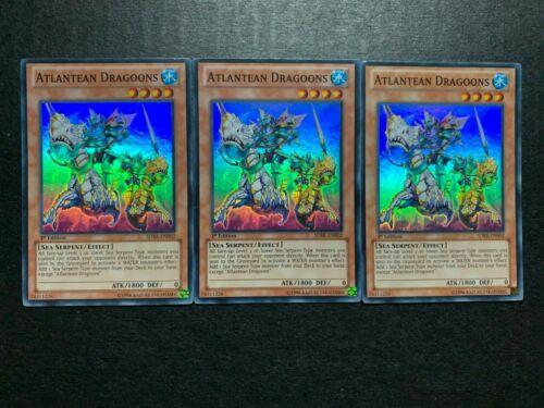 yugioh 3X Atlantean Dragoons SDRE-EN002 Super Rare Hollo 1st Edition near mint
