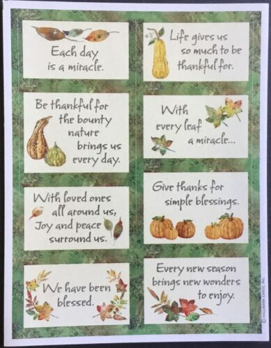 Thanksgiving Mint Condition!! Sheet of Vintage Hallmark Stickers
