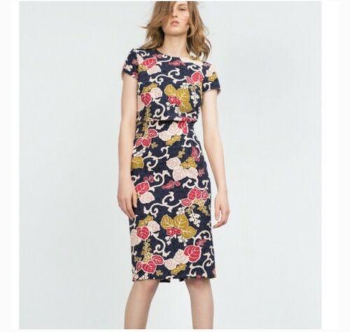 Zara Floral Vine Print Pencil Skirt