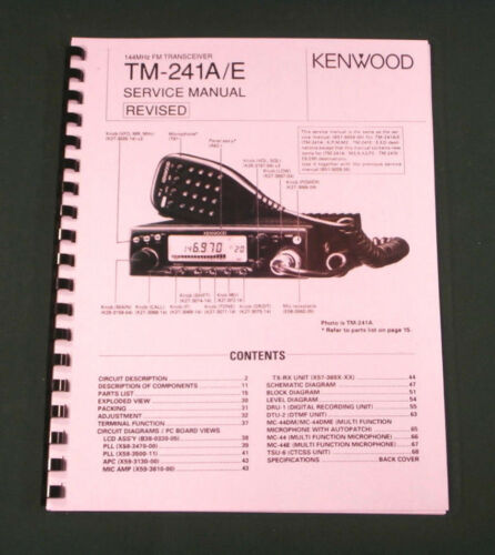 """w//11X28/"""" Foldout Schematic /& Protective Covers Kenwood TM-241 Service Manual"""