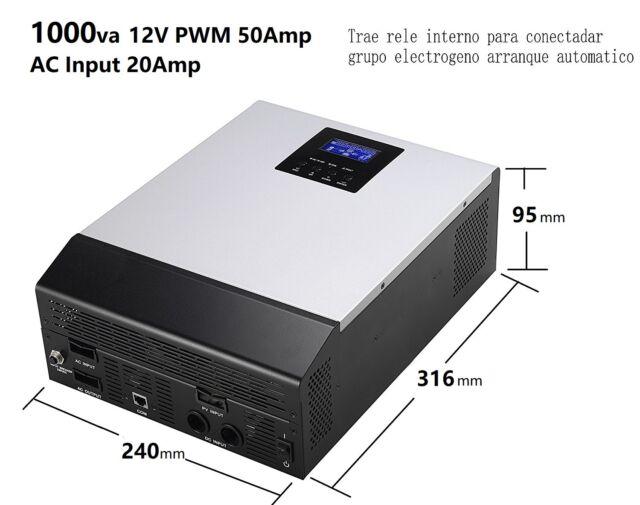 Inverter wave pure Hybrid 1kva 12V Regulator PWM 50A Charger 20A